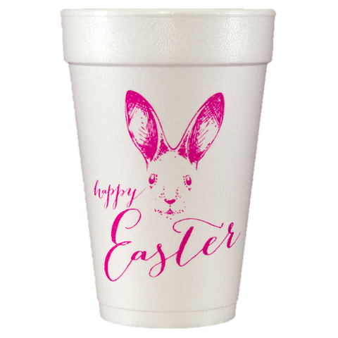 Pre-Printed Styrofoam Cups<br> Happy Easter Bunny Face