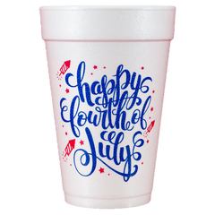 Pre-Printed Styrofoam Cups<br> Happy Fourth of July