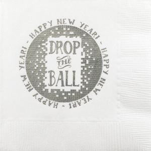 Pre-Printed Beverage Napkins<br> Drop the Ball