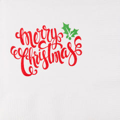 Pre-Printed Beverage Napkins<br> Merry Christmas Script