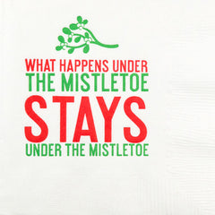 Pre-Printed Beverage Napkins<br> Under The Mistletoe