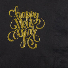 Pre-Printed Beverage Napkins<br> Happy New Year Script