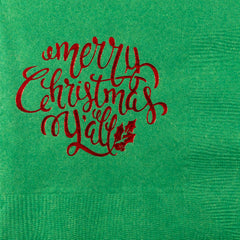 Pre-Printed Beverage Napkins<br> Merry Christmas Y'all