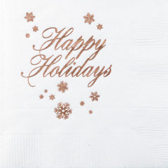 Pre-Printed Beverage Napkins<br> Happy Holidays
