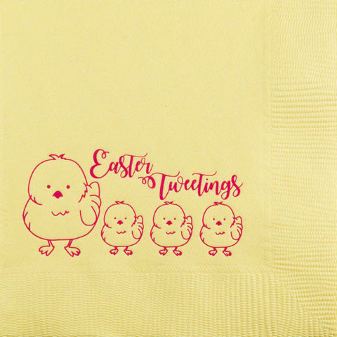 Pre-Printed Beverage Napkins<br> Easter Tweetings