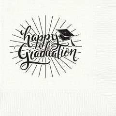 Pre-Printed Beverage Napkins<br> Happy Graduation