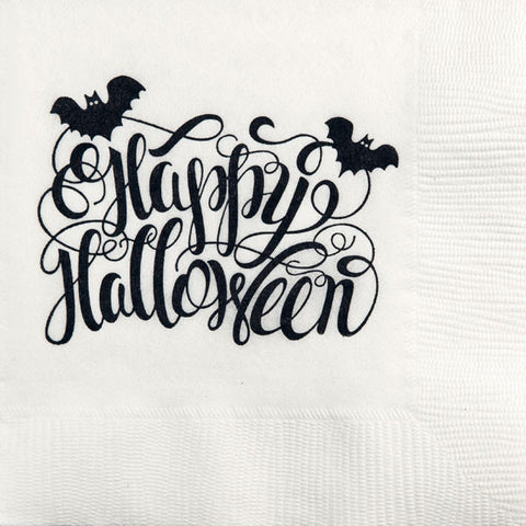 Pre-Printed Beverage Napkins<br> Happy Halloween