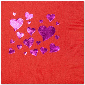 Pre-Printed Beverage Napkins<br> Scattered Hearts