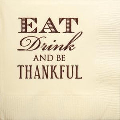 Pre-Printed Beverage Napkins<br> Eat Drink and Be Thankful