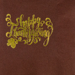 Pre-Printed Beverage Napkins<br> Happy Thanksgiving