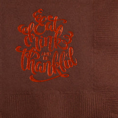 Pre-Printed Beverage Napkins<br> Eat Drink & Be Thankful (script)
