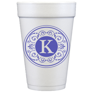 Pre-Printed Styrofoam Cups<br> Tuscany Initial (violet)
