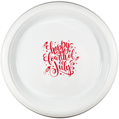 "Pre-Printed 7"" Plastic Plates<br> Happy Fourth of July"