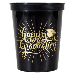Pre-Printed Stadium Cups<br> Happy Graduation