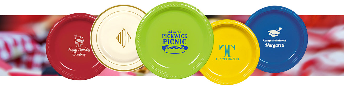 Personalized Plates & Personalized Plastic Plates Custom Printed \u2013 Limelight Paper \u0026 Partyware