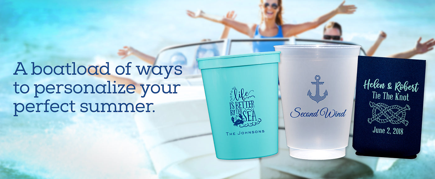 Personalized & Monogrammed Frosted Plastic Cups, Neoprene Koozies & Linen-like Paper Guest Towels