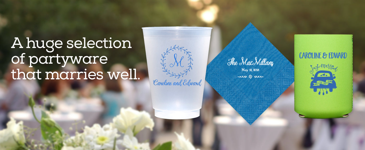 Custom Cups, Napkins & Koozies for Wedding Events