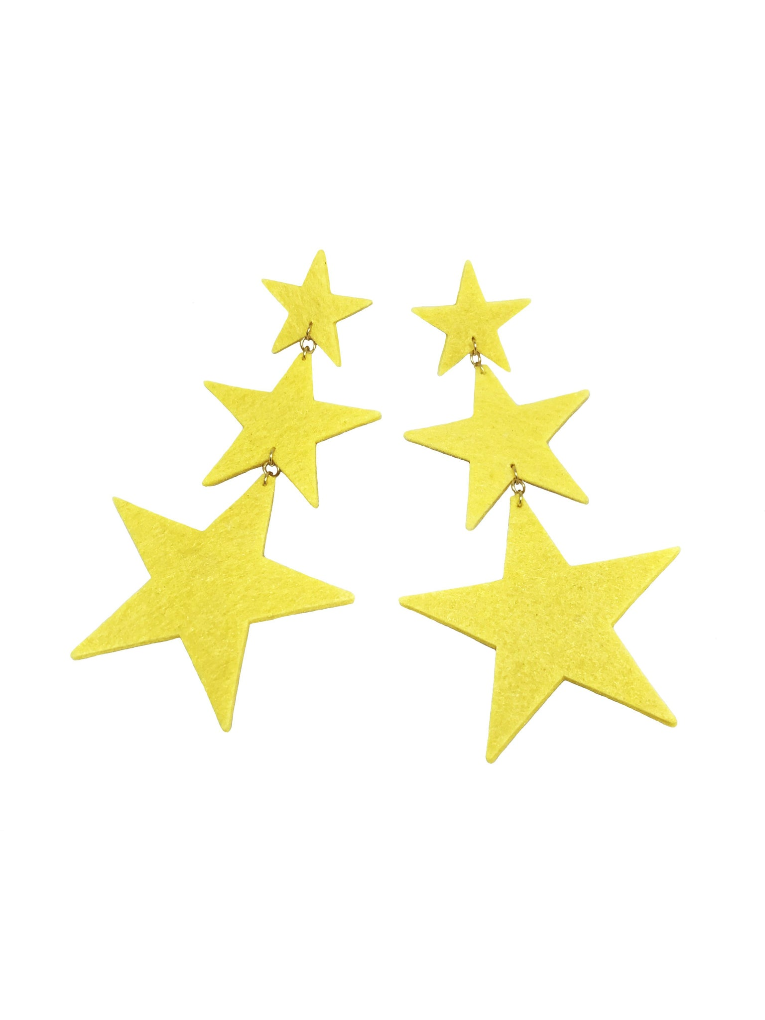 Yellow triple Star Earrings