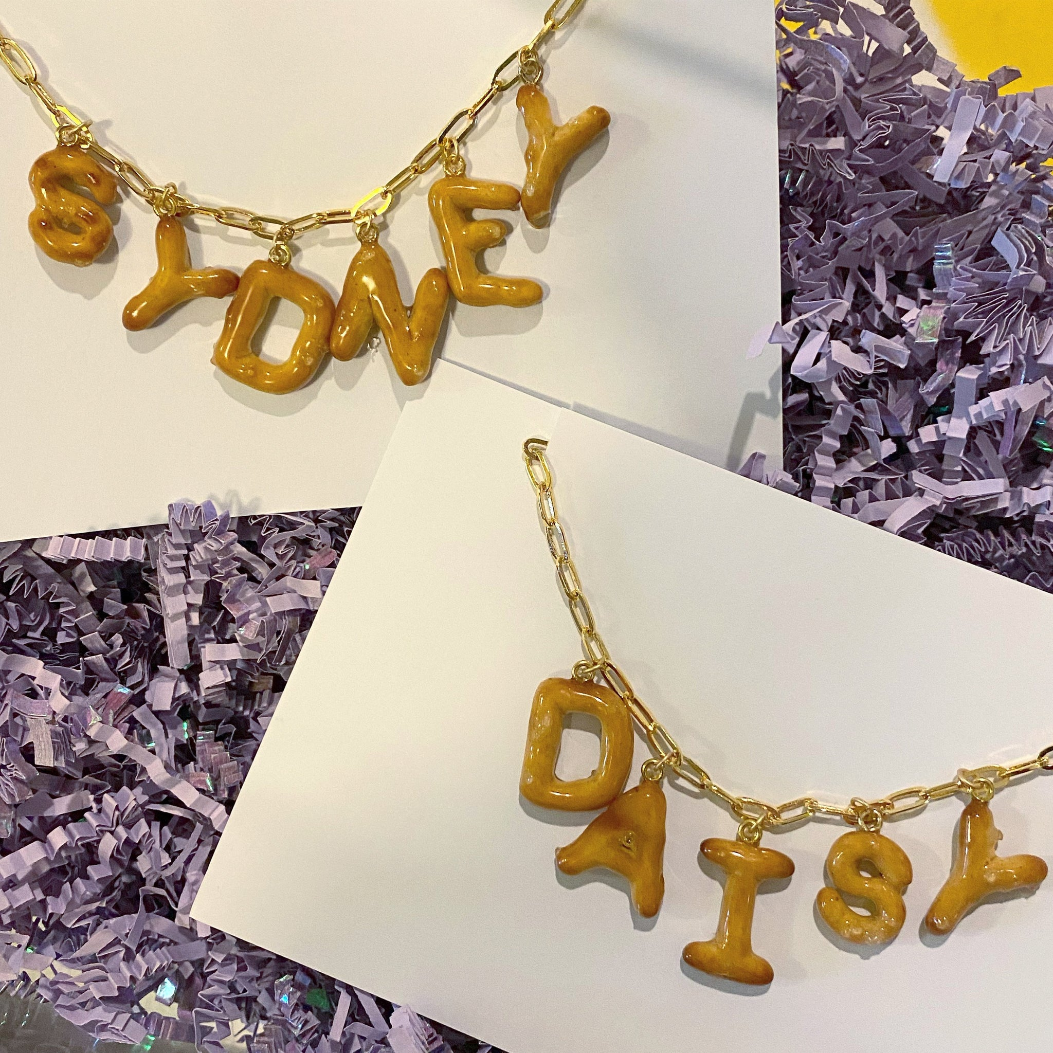 DadyBones Necklaces Custom Pretzel Nameplate Necklace
