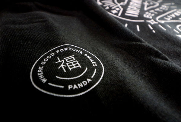 "On a Mission Hoodie with Panda ""Where Good Fortune Smiles"" on sleeve"