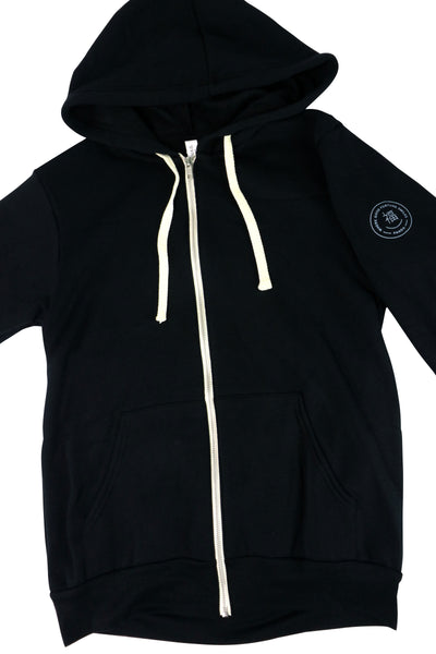 On a Mission Hoodie is Black with White zipper and drawstring