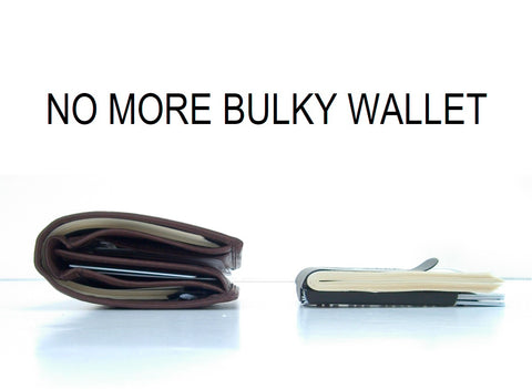 Smart Money Clip shown next to a fat leather wallet with the works NO MORE BULKY WALLET