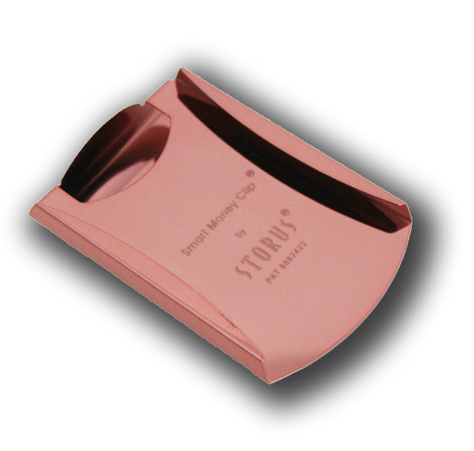 Storus® Smart Money Clip pink finish card side shown empty - #ScottKaminski #Storus #MoneyClip #SlimClip #bestmoneyclip #groomsmengifts #gifts #wedding #fathersday #MothersDay #golf #Swag #Love