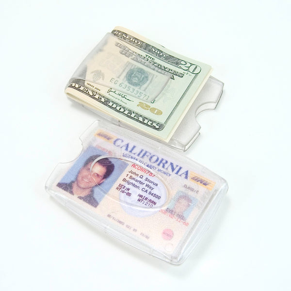 Storus® Smart Money Clip® Lite - Clear - clip side and card side show at same time