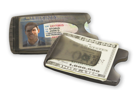 Smart Money Clip® - Lite Charcoal - Storus - clip side and card side show at same time