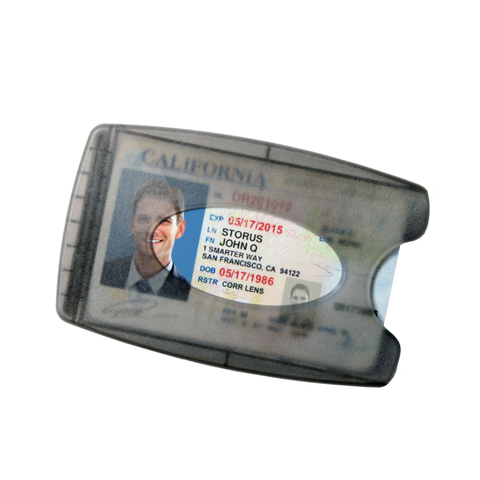 Smart Money Clip® - Lite Charcoal - Storus - with driver's license showing