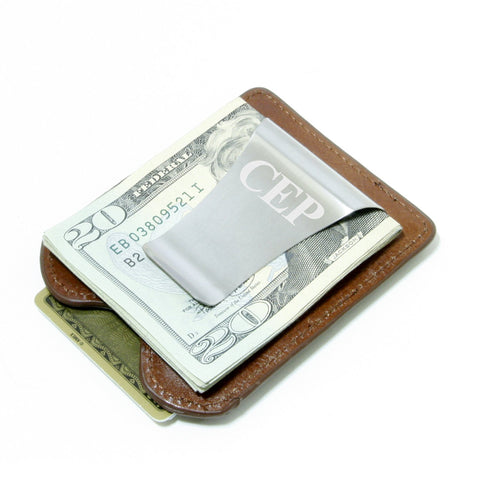 Smart Money Clip® Leather - Cognac - Storus - clip side engraved with initials traditional font and money inside
