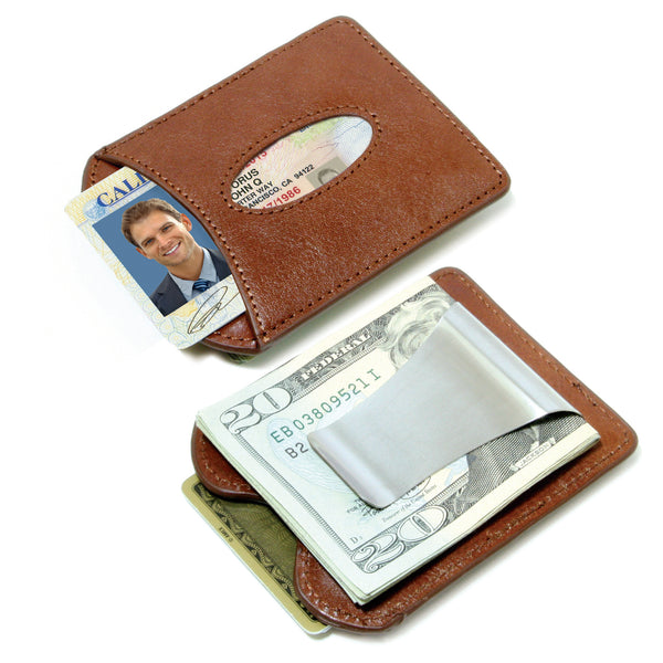 Storus® Smart Money Clip® Leather - Cognac - front and back shown side by side