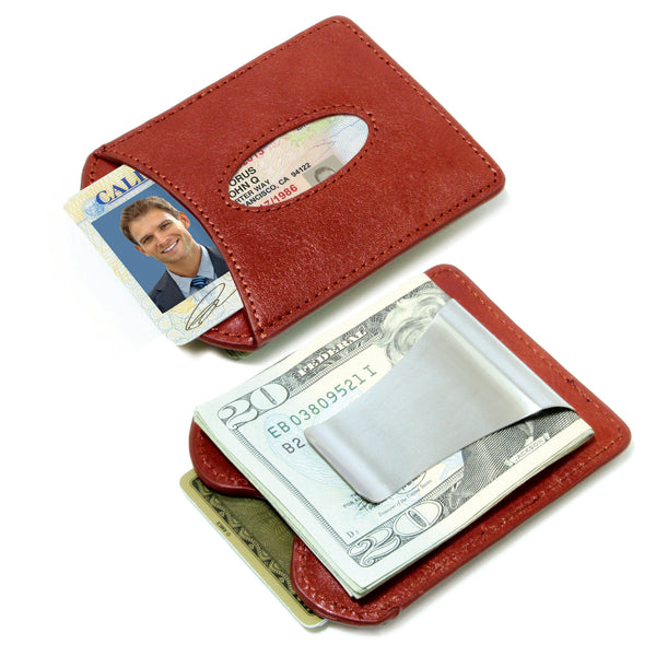 Storus® Smart Money Clip® Leather - Wine Redf - front and back shown side by side and filled