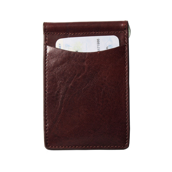 Storus Razor Wallet dark brown back side with ID in pocket