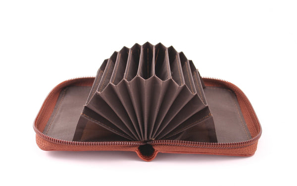 Storus Smart Accordion Wallet open and fanned empty