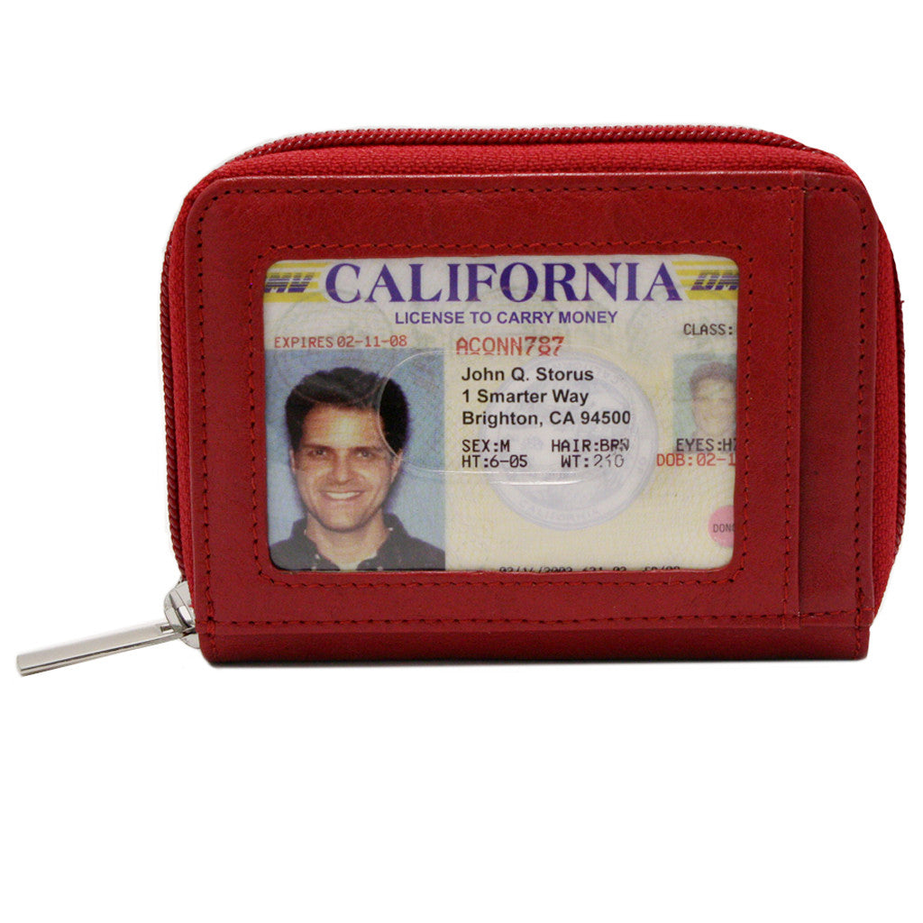 Storus Smart Accordion Wallet™ - Red color ID window side with ID inside