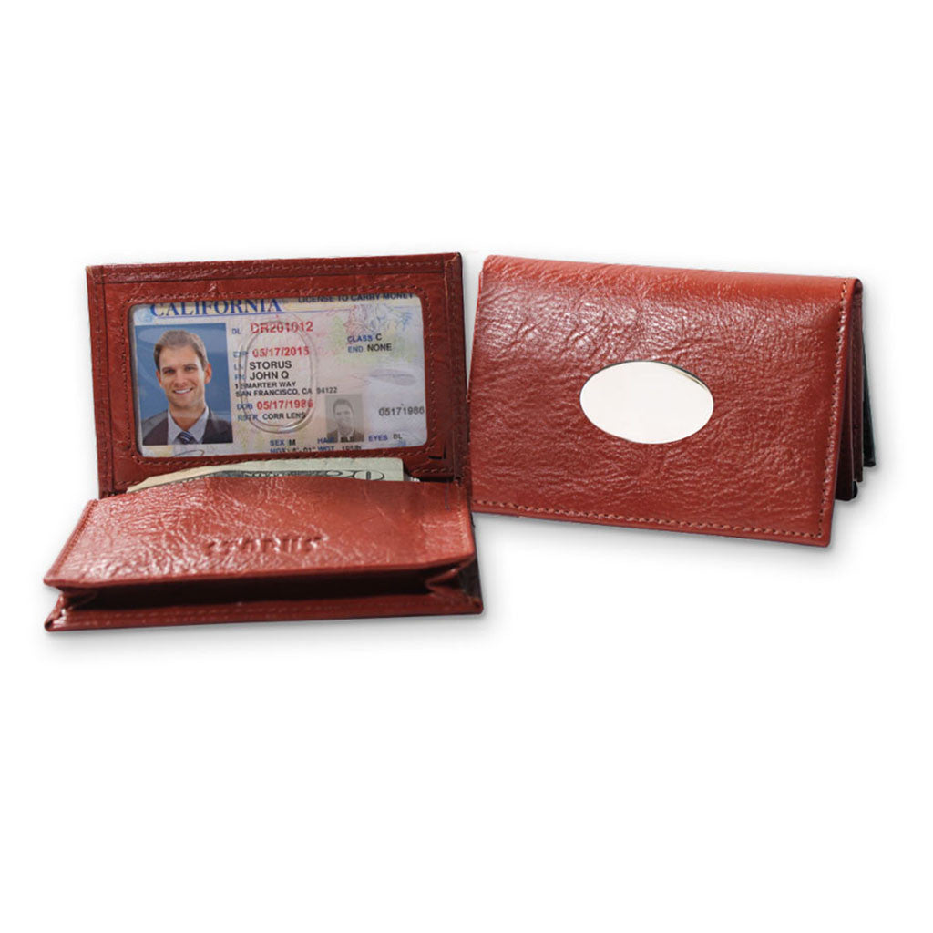 Storus Smart Card Case Leather cognac color side by side with one open and one closed