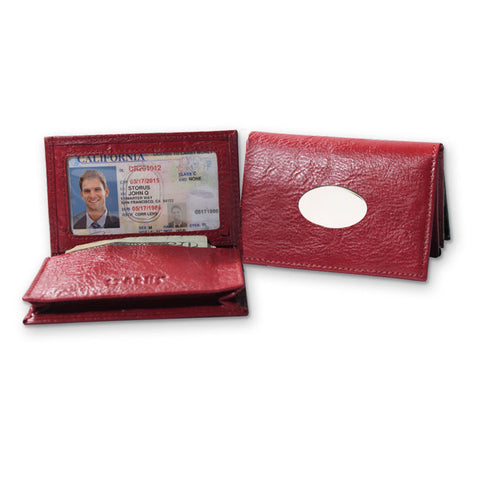 Storus Smart Card Case Leather red color side by side with one open and one closed