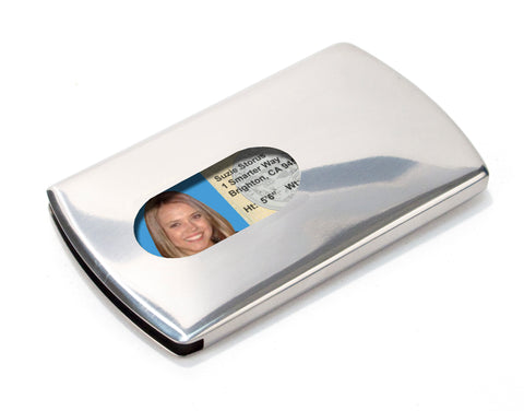 Storus Metal Smart Card Case front side with thumb hole and ID inside