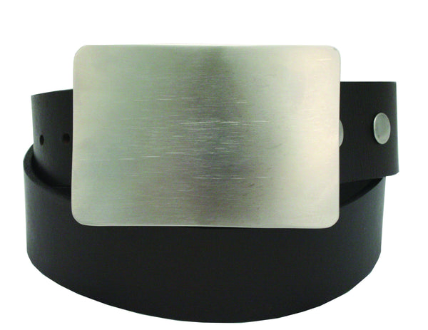 Storus Smart Belt Buckle™ - Titanium finish on leather belt strap