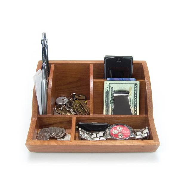 Storus® Smart Valet Tray® - Oak - front shown full of items - #ScottKaminski #Storus #MoneyClip #SlimClip #bestmoneyclip #groomsmengifts #gifts #wedding #fathersday #golf #Swag #Love