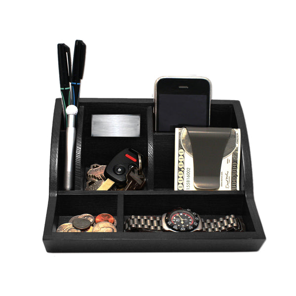 Storus® Smart Valet Tray® - Black - front - for men or women, dresser, nightstand or desk - #ScottKaminski #Storus #MoneyClip #SlimClip #bestmoneyclip #groomsmengifts #gifts #wedding #fathersday #golf #Swag #Love