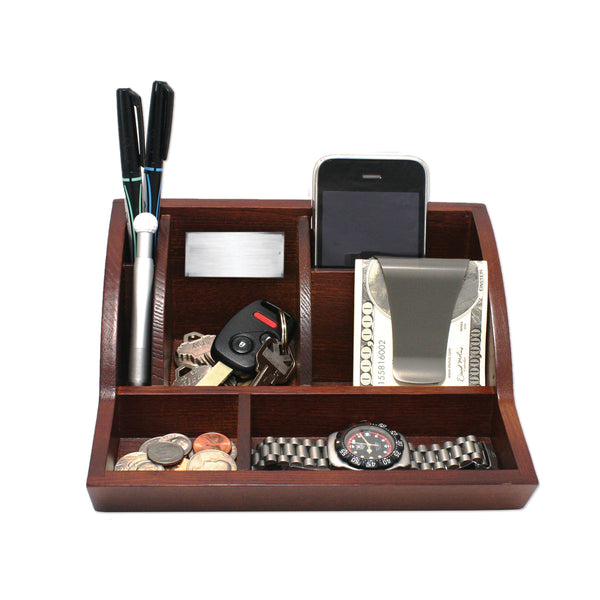 Smart Valet Tray® - Walnut - Storus - front - for men or women. for dresser, nightstand or desk.