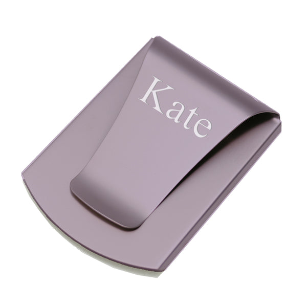 Smart Money Clip purple finish - shown engraved with a name