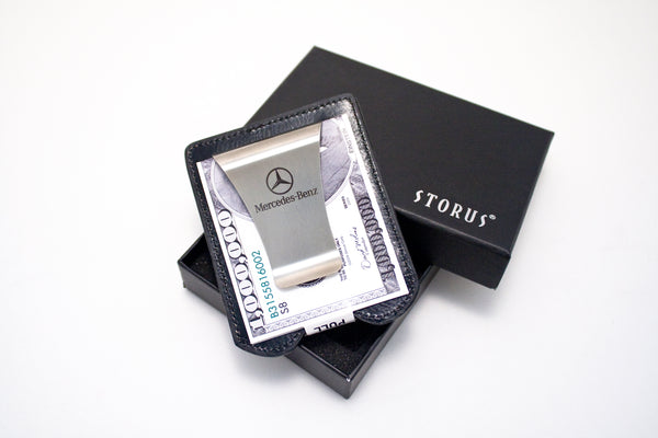 Smart Money Clip Leather - black - next to gift box