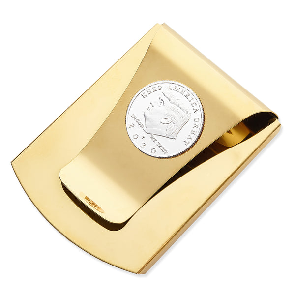 Storus® Smart Money Clip®President Trump, Keep America Great, Commemorative 2020 Election Edition - Polished Gold with silver Trump medallion - Storus - #ScottKaminski #Storus #MoneyClip #SlimClip #bestmoneyclip #groomsmangifts #Swag #Love #trump #President