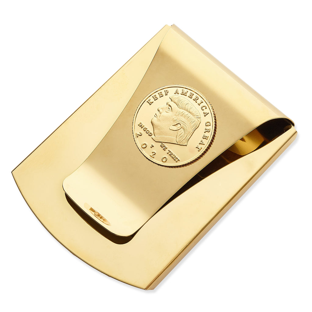 Storus® Smart Money Clip®President Trump, Keep America Great, Commemorative 2020 Election Edition - Polished Gold with gold Trump medallion - Storus - #ScottKaminski #Storus #MoneyClip #SlimClip #bestmoneyclip #groomsmangifts #Swag #Love #trump #President