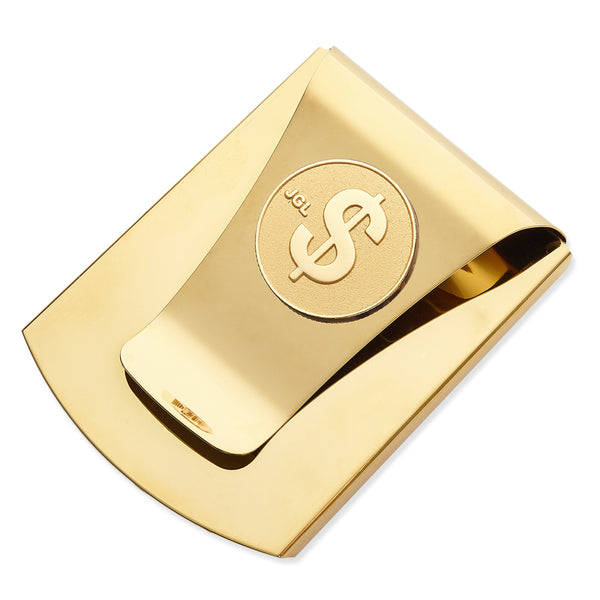 Storus® Smart Money Clip®Polished Gold with gold $ sign medallion - Storus - #ScottKaminski #Storus #MoneyClip #SlimClip #bestmoneyclip #groomsmangifts #Swag #Love #trump #President