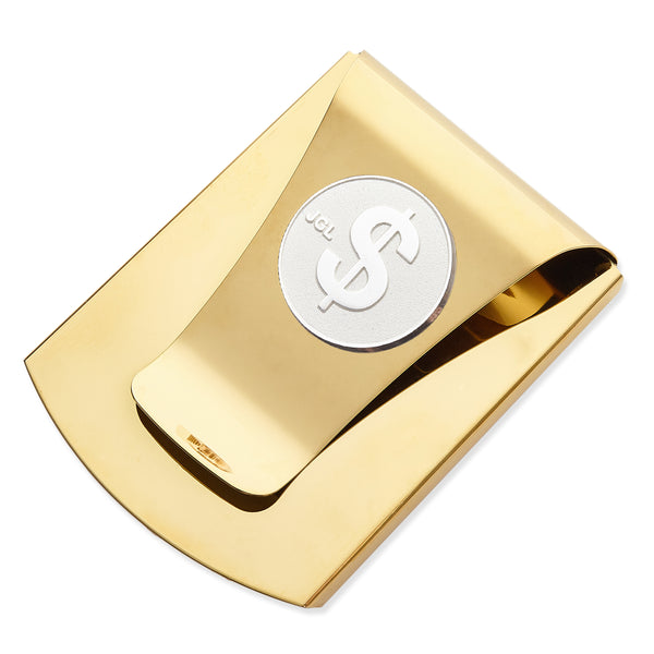 Storus® Smart Money Clip®Polished Gold with silver $ Sign medallion - #ScottKaminski #Storus #MoneyClip #SlimClip #bestmoneyclip #groomsmangifts #Swag #Love #trump #President