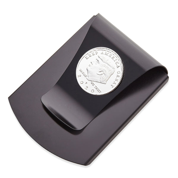 Storus® Smart Money Clip®President Trump, Keep America Great, Commemorative 2020 Election Edition - Gunmetal with silver Trump medallion - by #Storus #ScottKaminski #MoneyClip #SlimClip #bestmoneyclip #groomsmangifts #Swag #Love #trump #President